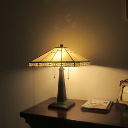 Tiffany Style 2 Bulb Mission Stained Glass Desk Table Lamp Arts And Crafts $166.19