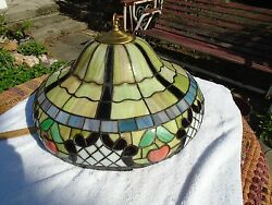 Antique Vintage Chandelier Stained Glass Fixture Shade Light restored rewired $329.99