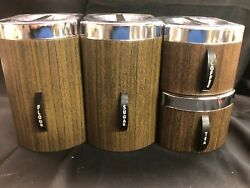 Vintage Kromex Faux Wood Grain Canister Set of 4! Excellent!