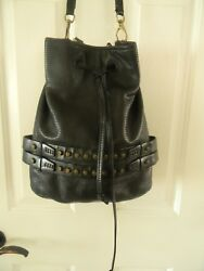 She + Lo Black Leather Perforated Drawstring Bucket Bag