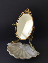 Vintage Vanity Table Mirror with Shell Tray Stand
