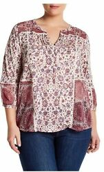 Lucky Brand Womens 2X Plus BOHO Print 3 4 Mixed Print Knit Chiffon Top NWT $26.00