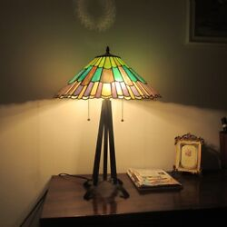Tiffany Style 3 Bulb Geometric Stained Glass Desk Table Lamp Handcrafted $232.75