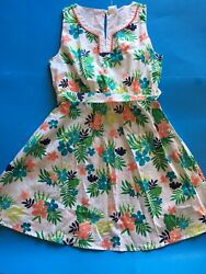 NWT Gymboree tropical flower belted girls sleeveless dress size 10 melon