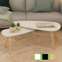 vidaXL Solid Wooden Coffee Table Set 2 Piece Side Couch Sofa Multi Colors
