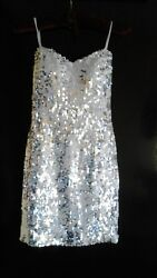 NEW Lily Rose Ladies XS White Full Sequins Strapless Short Formal Party Dress $58.00