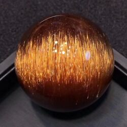 48mmTop! Chatoyancy Natural Gold Copper Rutilated Quartz  Crystal Sphere Ball