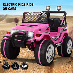 Electric 12V Battery Kids Ride On Car Toy Jeep USB Bluetooth Remote Control Pink $169.99