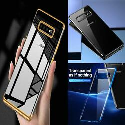 For Samsung Galaxy S10e Plus Plating Bumper Clear Gel Phone Case + Screen Guard