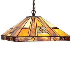 Ceiling Pendant Hanging Light Lamp 16quot; Shade Two Bulb Mission Stained Glass $161.91
