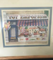 Fiona Butler Wood Framed Toy Emporium Print super cute