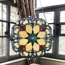 Stained Glass Window Panel 18quot; Wide Handcrafted Victorian Tiffany Style $116.74