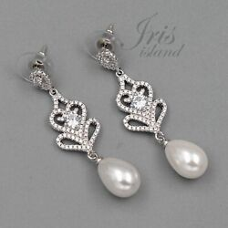 White Gold Plated Pearl Cubic Zirconia Wedding Bridal Drop Dangle Earrings 05640