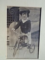 Antique Photo  Boy With Tricycle Vintage 1910 -1920 Saylor Suit -- '39 Ford Fund