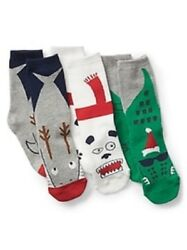 GAP KIDS BOYS SOCKS CHRISTMAS HOLIDAY SIZE SMALL 10 12 PACK OF 3 NEW $12.95