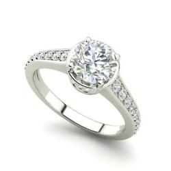 Pave 3.3 Carat VS1H Round Cut Diamond Engagement Ring White Gold