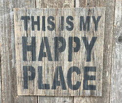 Beach Cabin Decor THIS IS MY HAPPY PLACE Lake Bar Pub Rustic Wood SIGN Wall Art