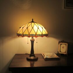 Tiffany Style 2 Bulb Victorian Stained Glass Desk Table Lamp Handcrafted $177.65