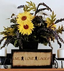Primitive Country Rustic Home Decor Live Love Laugh 12 in Wood and Burlap Sign $7.95