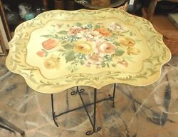 Painted Toleware Metal Tray & Folding Metal Stand Butler Table 25