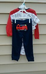 CARTER#x27;S BOYS 3 PC PANTS CHARACTER SET 6 MONTH 100% COTTON LONG SLEEVE RED $10.00