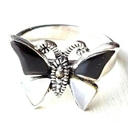 (SIZE 78) ONYX & MOTHER OF PEARL BUTTERFLY RING Marcasite .925 STERLING SILVER