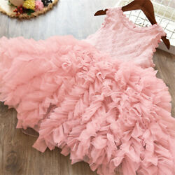 Lace Flower Girl Dress Kids Party Princess Birthday Party Tutu Clothes Size 3 8 $12.68