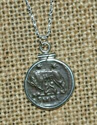 She Wolf URBS Constantine the Great Lifetime Ancient Coin 925 Silver Necklace