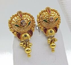 ANTIQUE ETHNIC HANDMADE EARRING PAIR 22K YELLOW GOLD FILIGREE ENAMEL JEWELRY