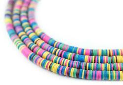 Spring Medley Vinyl Phono Record Beads 4mm Ghana African Multicolor Disk