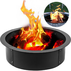 Fire Pit Ring Liner 39''In Outdoor 10''Height Courtyard in Black Campfire Ring