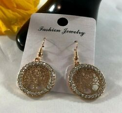 Earrings Women Hollow Out Tree of Life Rose Gold Crystal Drop Pattern Round