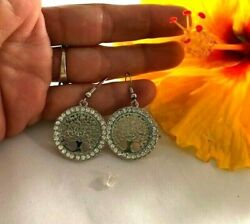 Earrings Women Hollow Out Tree of Life Rose Silver Crystal Drop Pattern Round