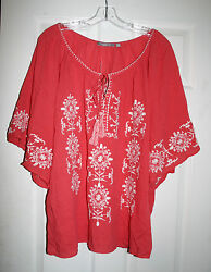 NY Collection 1X Plus BOHO Top Smocked Embroidered Coral 100% Cotton NWT $24.00