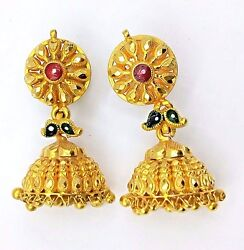 STUD JHUMAKI PAIR TRIBAL JEWELRY 22K YELLOW GOLD ANTIQUE ETHNIC HANDMADE EARRING