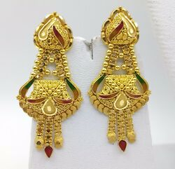 22K YELLOW GOLD FILIGREE ANTIQUE ETHNIC HANDMADE EARRING PAIR TRIBAL JEWELRY
