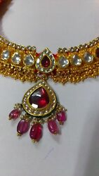 AWESOME PURE 22K GOLD AWESOME JADAU RUBY COLOR NECKLACE STUDDED NECKLACE PENDANT