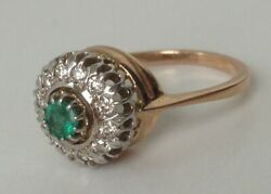 Emerald and Diamond Cluster 14ct Rose Gold Ring Engagement size M 12