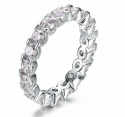 AAA Crystal Eternity Band Ring 925 Sterling Silver Filled