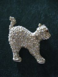 GOLD TONE KITTY CAT COVERED IN SPARKLING ICE RHINESTONES GOLD TONE BROOCH $7.50