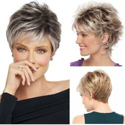 Women Natural Short Wig Synthetic Hair BOB Cut Straigth Pixie Full Wig for Daily