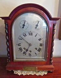 Antique Mahogany Wurtemberg Mantel Clock Ger. Gift to Capt. W. G. Lawrence 1909