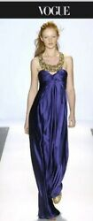 LELA ROSE Couture Runway Gorgeous purple Silk Dress Gown With Jeweled Necklace!