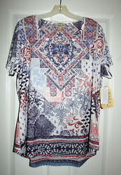 One World Top 1X Plus BOHO Multi Border Print Top Short Sleeve NWT $26.00