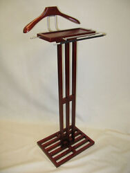 Mens Valet Suit Stand Clothes Hanger Wood and Brass Executive Butler Coat Rack