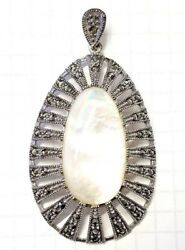 Large MOTHER OF PEARL PENDANT w Vintage Marcasite Stones .925 STERLING SILVER $25.00