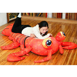 78'' Big Simulation Lobster Plush Anime Lfelike Shrimp Stuffed Bed Soft Kid Gift