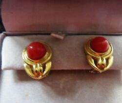 Sardinian CORALAAAearrings10mm 18k gold hallmarked10mm rounds 3 cm long