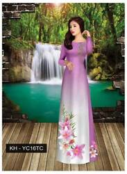 Ao Dai Traditional Vietnamese Long Dress Collections with Pants Silk print 3D $99.00