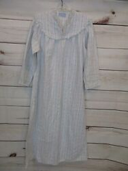 VTG Lanz of Salzburg Long Cotton Flannel Nightgown Women's Large Made In USA